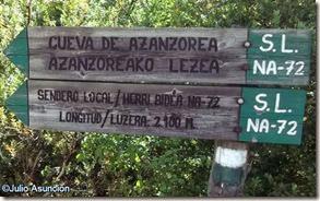 Cartel ruta cueva de Azanzorea_Valle de Roncal