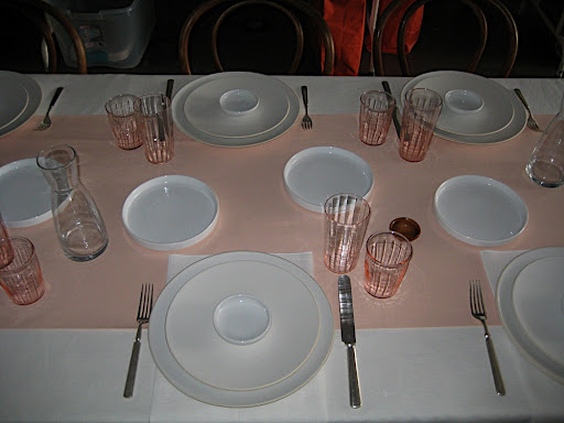 The beginning of one of our table set ups. Before flowers, napkins, place cards, etc.