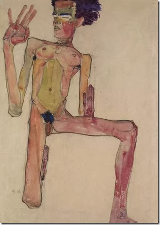 self portrait kneeling - egon schiele
