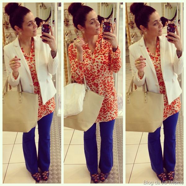 look calça flare azul, maxi blusa estampa laranja e blazer brancoo (2)
