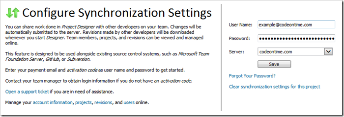 Entering username and password in order to configure synchronization.