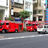 a fire in Tokyo in Roppongi, Tokyo, Japan