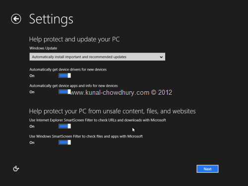 Win 8 Installation Experience - Settings - Update your PC