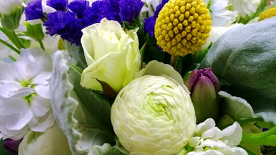 white, yellow and purple wedding flowers | Ideas in Bloom