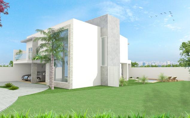 Projeto residencial -Fachada lateral direita