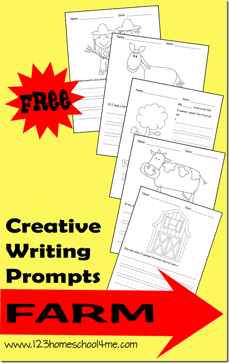 FREE Farm Writing Prompts for K-4th Grade #writingprompts #homeschooling