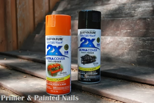 Black & Orange Spray Paint - Primer & Painted Nails