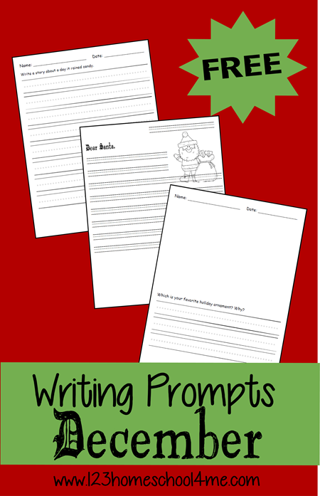 FREE December Writing Prompts for kids #writingprompts #homeschooling