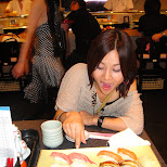 yuka and matt at sushi in roppongi in Roppongi, Tokyo, Japan