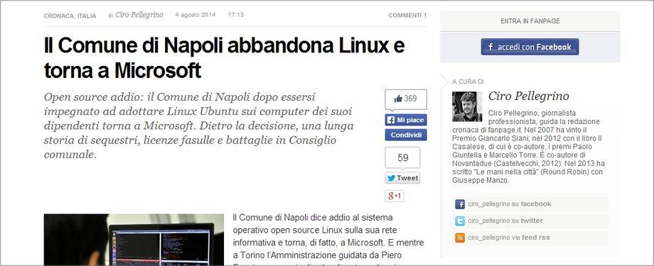 Napoli: il comune abbanona Linux e ritorna ad usare Windows