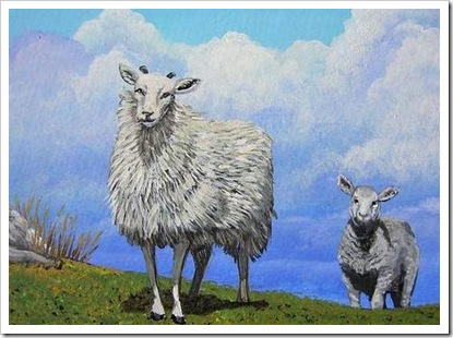 Sheep with Lamb Following