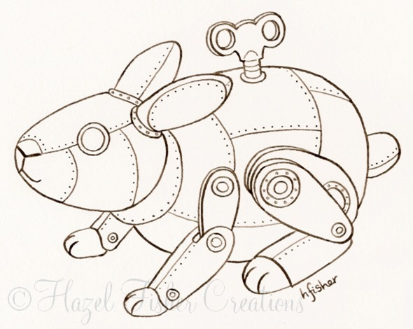 2013May29 steampunk clockwork rabbit inked