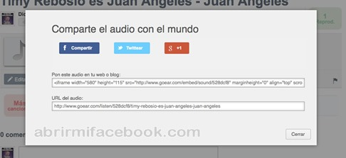 Compartir archivo de audio en Facebook