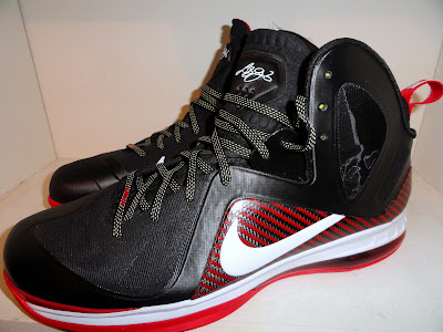 nike lebron 9 ps elite black white red away pe 2 01 First Look at Nike LeBron 9 PS Heat Away PE... Off James Feet