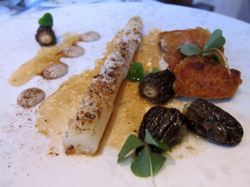 Crisp Chicken Wings with White Asparagus, Stuffed Morels and Arbois