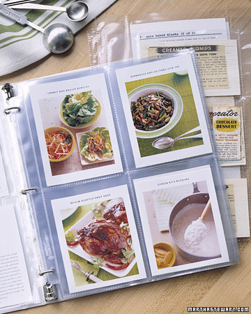 This is a wonderful way to organize your recipes! Slide them into a clear protectant and clip them in a binder -- you won't have to worry about spilling over your recipes.