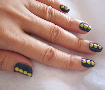 blue and yellow dots notd, bitsandtreats