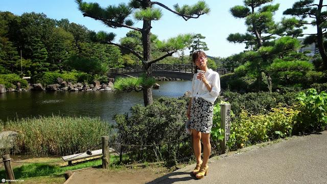 fumie having a coffee at the Shinagawa park in Shinagawa, Tokyo, Japan