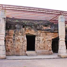 Khambhalida Caves near Jetpur; Guj; India  by Thakkar Mj - Buildings & Architecture Public & Historical ( junagadh, ancient, gujarat, caves, india, buddha,  )