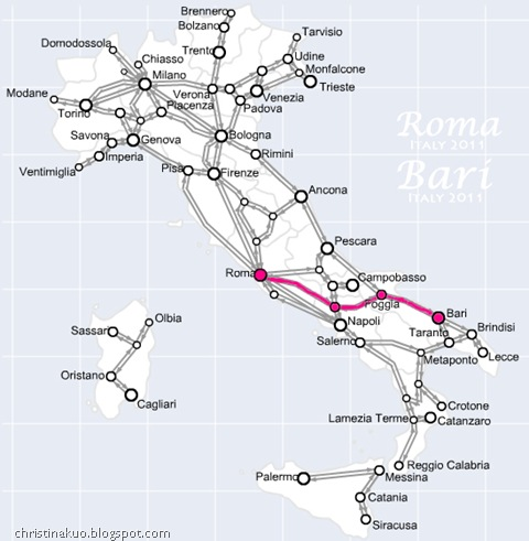 Italian train_rome to bari