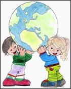 Desenho-de-crianças-levantando-globo-terrestre responsabilidade pelo futuro