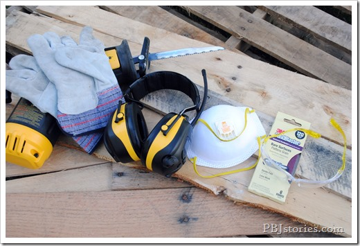 power tools, tutorial, pallet, video, reciprocating saw, pbjstories.com, 3m, safety gear