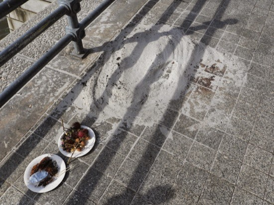 The remains of some burnt things, and a plate