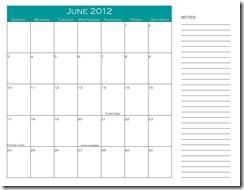 June 2012 notes calendar