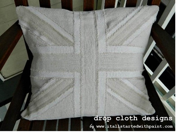 Union Jack Drop Cloth Pillow