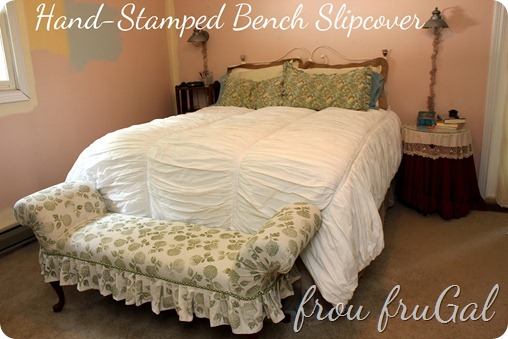 Hand-stamped Slipcover for Bench
