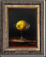 Lemon in glass Framed