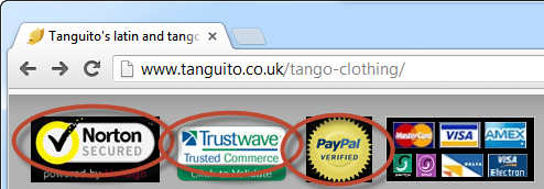 Tanguito dancewear with Norton and Trustwave logos