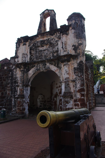 The Porta de Santiago - a gate to the old A Famosa Portuguese Fort (now in ruins).