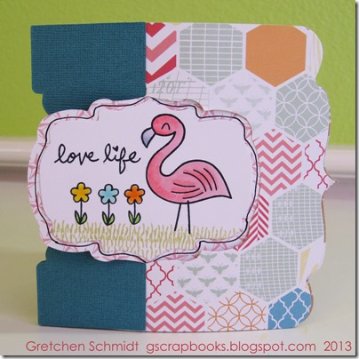 Love Life card with Window Label Pop `n Cuts Insert and Square Base by @gscrapbooks