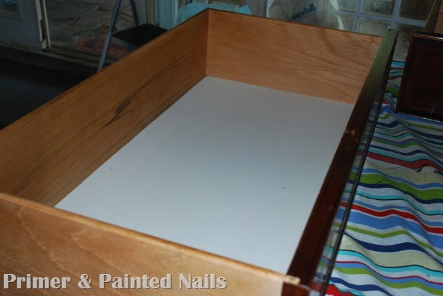 Dresser turned TV Stand Drawers Before 2 - Primer & Painted Nails