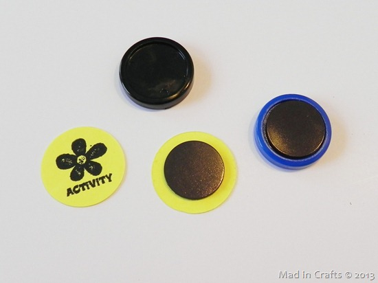 stick magnets to cardstock circles