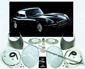 Jaguar XK-E Head-Light-Cover-Kit. The Head-Lamp-Cover Conversion-Kit made by designer Stefan Wahl in the tradition of Malcolm Sayer. / Jaguar E-Type Scheinwerferabdeckungs Kit, designed und hergestellt von Designer Stefan Wahl in der Tradition von Malcolm Sayer.