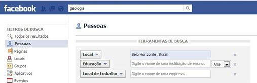 Busca avançada de pessoas no Facebook