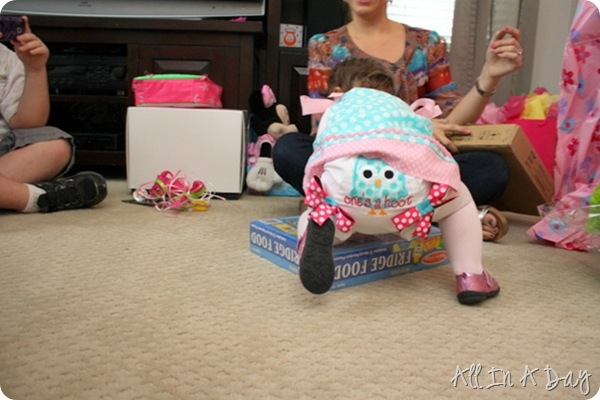 owl first birthday bloomers
