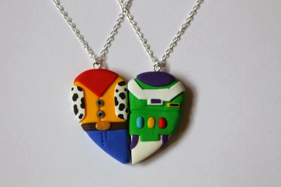 Woody and Buzz Lightyear Friendship Necklaces from Charming Clay Creations