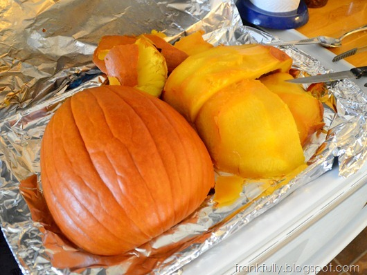 taking the skin off the roasted pumpkins