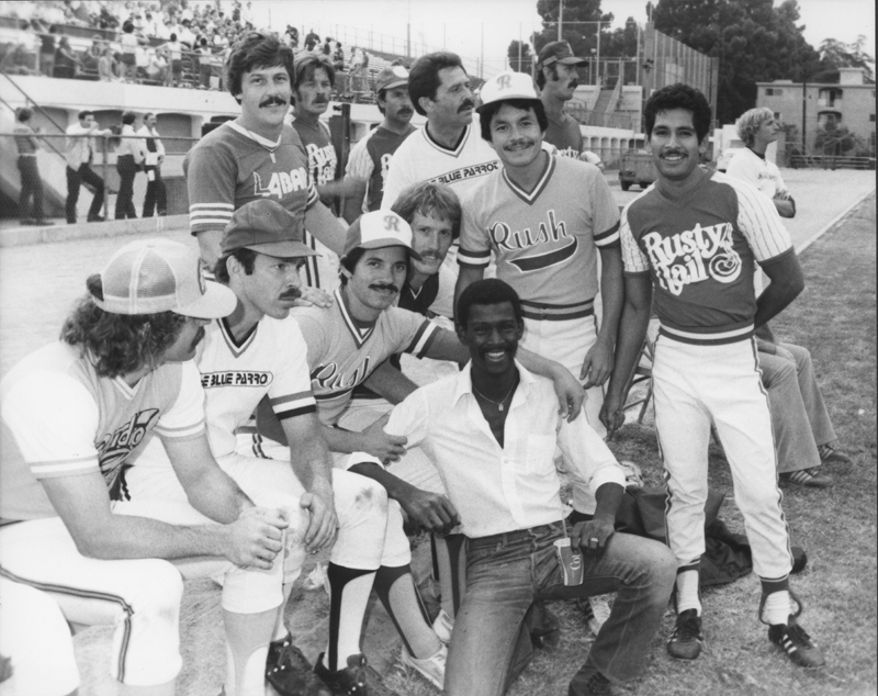 Gay players take part in a softball game between Los Angeles and San Francisco. Circa 1982.