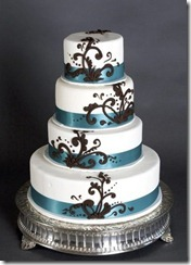 brown-blue-round-layered-wedding-cake