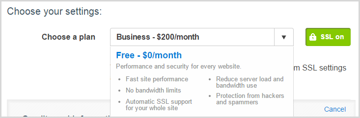 """The default plan is """"Business"""" at $200/m"""