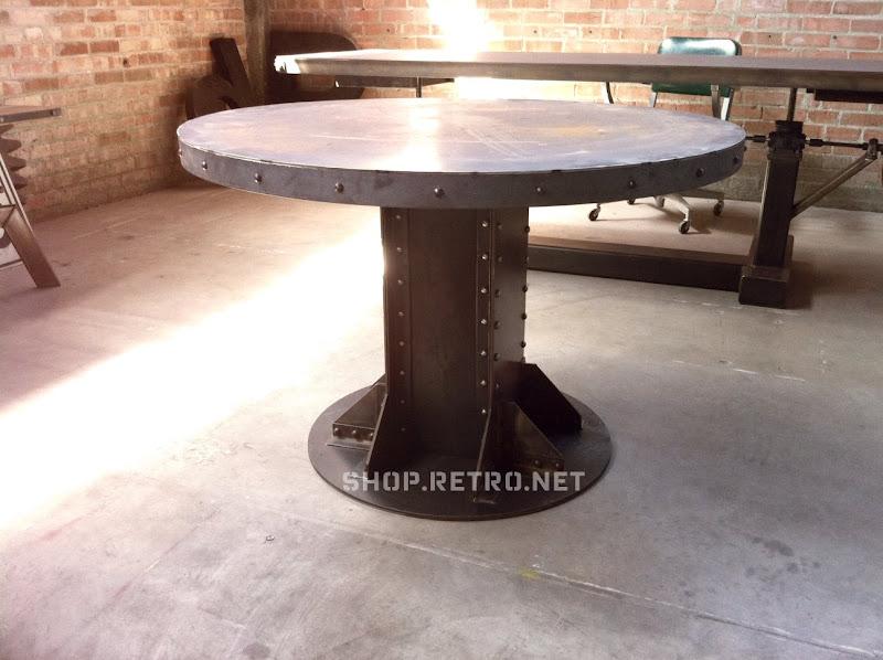 vintage industrial furniture tables design. Vintage Industrial I Beam Round Table Vintage Industrial Furniture Tables Design U