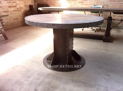 Wonderful Vintage Industrial I Beam Round Table