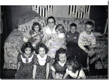 Grandma Weber with grandkids, about 1953.