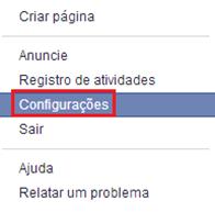 Clique em Configurações - Facebook