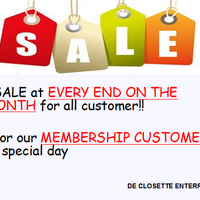 Sale at every end on the month for all customer !