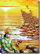 Hanuman and friends building bridge to Lanka